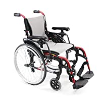Karman S-Ergo 305 Ultra Lightweight Ergonomic Wheelchair   Upgraded to Elevating Legrests   Seat Size 16 X 17   Frame Color Rose Red & Free 130 dB Silver Safety Alarm! + Black Front Zip Bag!