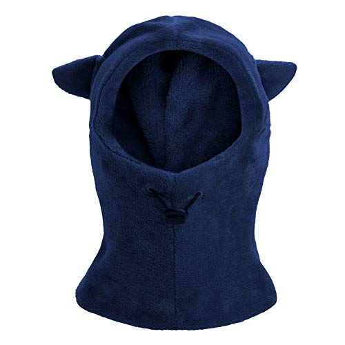 Kids Winter Windproof Warm Balaclava Hat Furry Fleece Neck Warmer Ski Riding Face Cover Mask (Navy)
