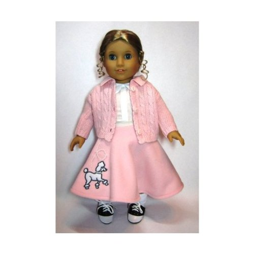 Poodle Skirt Outfit with Cardigan. COMPLETE Outfit with Shoes! Fits 18″ Dolls like American Girl®, Baby & Kids Zone
