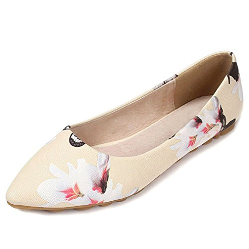 York Shoes Beige Ballet Zhu Summer Shoes Flat Beige Print Women's Point Toe Floral Casual rtqrwU