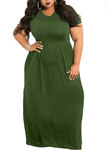 Dress with Jaycargogo Women Pockets 5 Size Short Maxi Sleeve Plus Loose Casual B6gWqBz8r