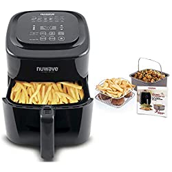 NuWave Brio 6 Quart Digital Air Fryer – Black with NuWave Brio Air Fryer 3 Piece Gourmet Accessory Kit - 6 Quart