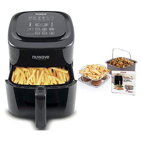 NuWave Brio 6 Quart Digital Air Fryer - Black with NuWave Brio Air Fryer with 3 Piece Gourmet Accessory Kit (Perfect Green Nuwave Cookware)