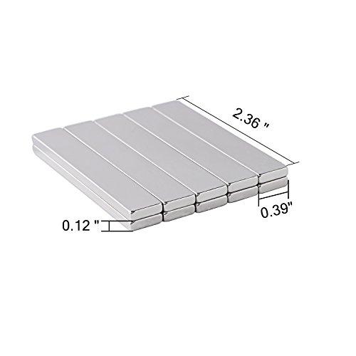 Powerful Neodymium Bar Magnets, N52 Rare-Earth Metal Neodymium Magnet for DIY, Craft - 60 x 10 x 3 mm, Pack of 12 by X L XLMAGNET (Image #5)