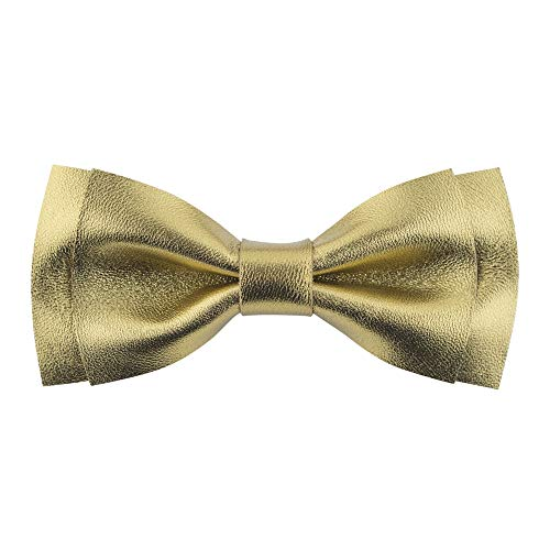 Bow Tie House Genuine Leather bow ties - unisex pre-tied (Medium, Vintage Gold)
