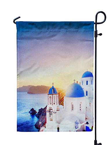 Shorping Welcome Garden Flag, 12x18Inch Oia Town Santorini Greece Sunset Traditional Famous White Houses Blue Over The Aegean Sea Churches for Holiday and Seasonal Double-Sided Printing Yards Flags ()