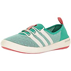 adidas Outdoor Women's Terrex Climacool Boat Sleek Water Shoe, Core Green/Chalk White/Tactile Pink, 8 M US