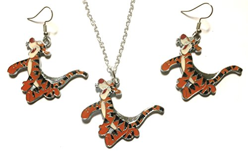 Mainstreet247 Tigger Winnie The Pooh's Friend Enamel Metal Pendant Necklace and Earring Set ()