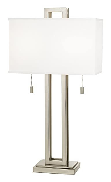 Possini euro design brushed nickel rectangle table lamp possini possini euro design brushed nickel rectangle table lamp aloadofball Images