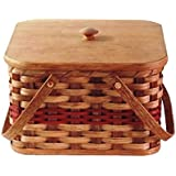 Amish Handmade Large Square Double Pie Carrier Basket w/Inside Tray, Lid, and Two Swinging Carrier Handles IN RED