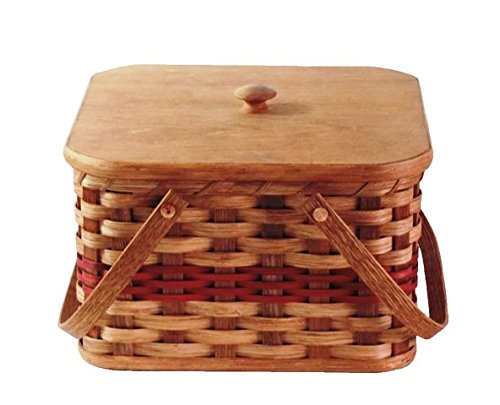 Amish Handmade Square Double Pie Basket w/Inside Tray, Lid, and Two Swinging Carrier Handles (Red w/o Liner, Large)