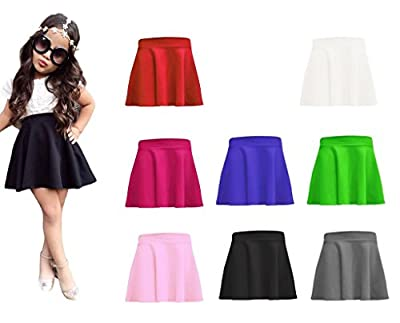 RM Fashions Girls Casual Mini Stretch Waist Flared Plain Pleated Skater Skirt (5-13 Years)