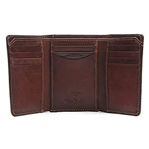 Tony Perotti Italian Leather Tri Fold Traditional Wallet with ID Window and Multi Card Holder Slots Double Currency Divider Gusset, Brown