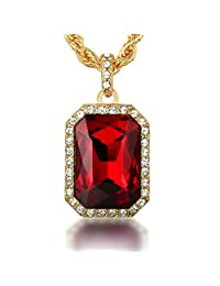 """Halukakah® Men's 18k Real Gold Plated """"RED RUBY"""" Gemstone Pendant Necklace,with FREE Rope Chain 30"""" Thick 5mm"""