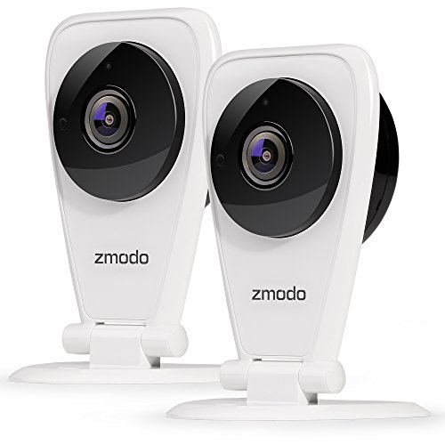 Zmodo EZCam 720p HD IP Camera, Wi-Fi Home Security Surveillance Camera System with Night Vision, Motion Alert, Remote Monitor, Cloud Service Available - Work with Alexa (2 Pack) ()