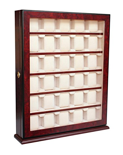 30 Piece Wood Watch Display Wall Hanging Case and Storage Organizer Box Stand 110030