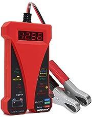MOTOPOWER MP0514C 12 V cyfrowy tester woltomierz i analizator systemu ładowania alternatora z wyświetlaczem LCD i wskaźnikiem LED, farba z czerwonej gumy