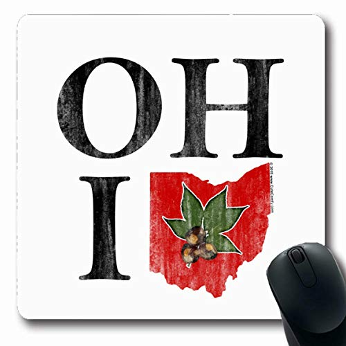 Ahawoso Mousepads Columbus Oh Io Ohio Vintage Red Buckeye Nut States Oblong Shape 7.9 x 9.5 Inches Oblong Gaming Mouse Pad Non-Slip Rubber Mat