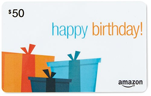 Large Product Image of Amazon.com $50 Gift Card in a Black Gift Box (Birthday Presents Card Design)