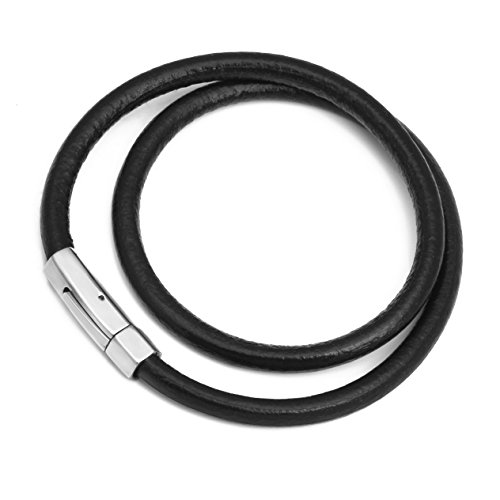 Multi Cord Leather Necklace - MENDINO Mens Leather Necklace Simple Hexagon Buckle Head Round Cord Rope Multi-Size with a Velvet Bag