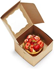 [50Pack] Bakery Boxes with Window 4x4x2.5 Kraft Pastry Containers for Cupcakes, Wedding Cake/Baby Shower/Treat Party Favors, Dessert, Candy, Cookies