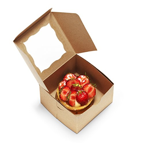 "[50Pack] Bakery Boxes with Window 4x4x2.5"" Kraft Pastry Containers for Cupcakes, Wedding Cake/Baby Shower/Treat Party Favors, Dessert, Candy, Cookies"
