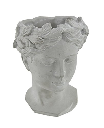 Cement Womens (Cement Planters Classic Greek Grey Lady Indoor/Outdoor Cement Head Planter 6 X 8.5 X 5.5 Inches Gray)