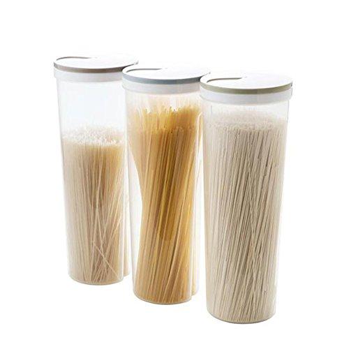 (Ireav Set of 3 Food Storage Cylinder Multifunction Spaghetti Noodles Storage Box Leakproof with Locking Lids, Nuts Beans Storage Box)