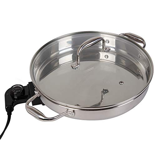 Electric Skillet By Cucina Pro - 18/10 Stainless Steel with Tempered Glass Lid, 12