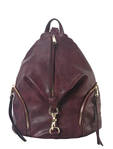 Diophy PU Leather Fashion Backpack with Zipper Pockets on Both Side Womens Purse Handbag AB-052 -