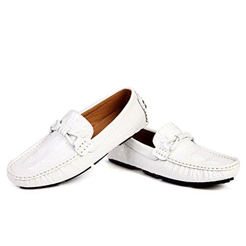 da Casual Luminosi da Slip Mocassini On Barca Uomo Mocassini Moda Deck Uomo Oxford Footwear Shoe Scarpe White1 da Driving Mocassini gRwBBI
