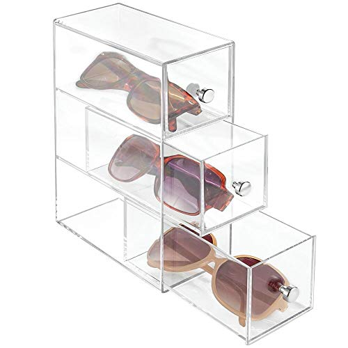 mDesign Slim Plastic Eye Glass Storage Organizer Box Bin Holder for Sunglasses, Reading Glasses, Eye Glass Cases, Accessories - Use Horizontally or Vertically - 3 Drawers, Chrome Pulls - Clear