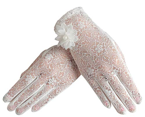 (Women Summer Sunproof Thin Short Lace Gloves for Driving, White)