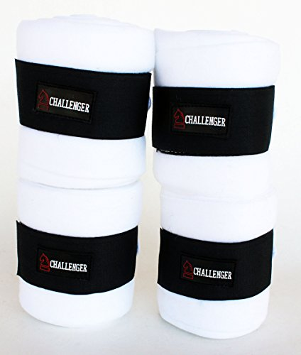 - CHALLENGER Horse Tack Grooming Leg Set of 4 Fleece Polo Wrap White 95R20