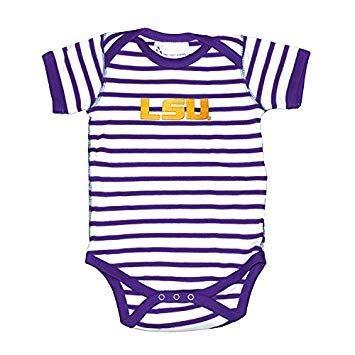 9a07e3dd7 Amazon.com  Two Feet Ahead LSU Tigers Infant Striped Logo Bodysuit ...