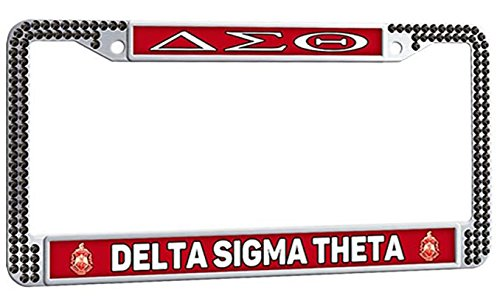 DELTA SIGMA THETA Customized Car License Plate Frame, Sorority Logo Auto License Plate Frame, Framespolish Metal Slim Style License Plate Frame Screw Set - ()