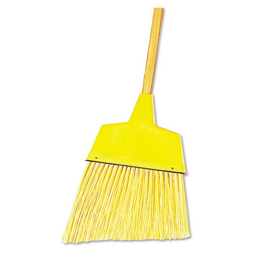 Angler Broom, Plastic Bristles, 42'' Wood Handle, Yellow, 12/Carton, Sold as 1 Carton, 12 Each per Carton by Boardwalk