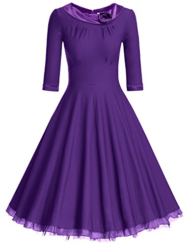 MUXXN Ladys 1950s Rockabilly 3/4 Sleeve Swing Vintage Dress (XL, Violet1)