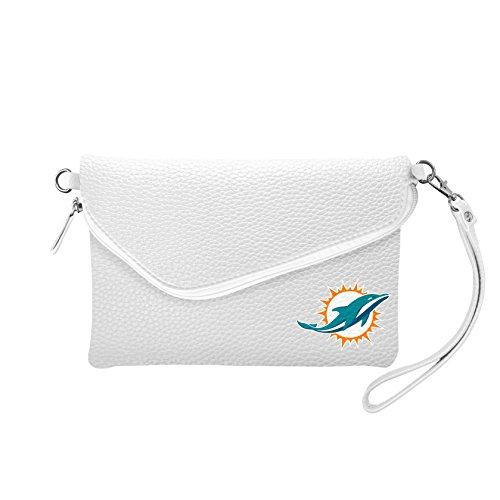 (NFL Miami Dolphins Pebble Fold Over Crossbody Purse)