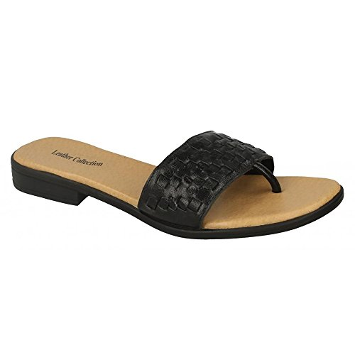 Womens Leather Black Ladies Weave Sandals Collection Mule Leather rrU5aqw