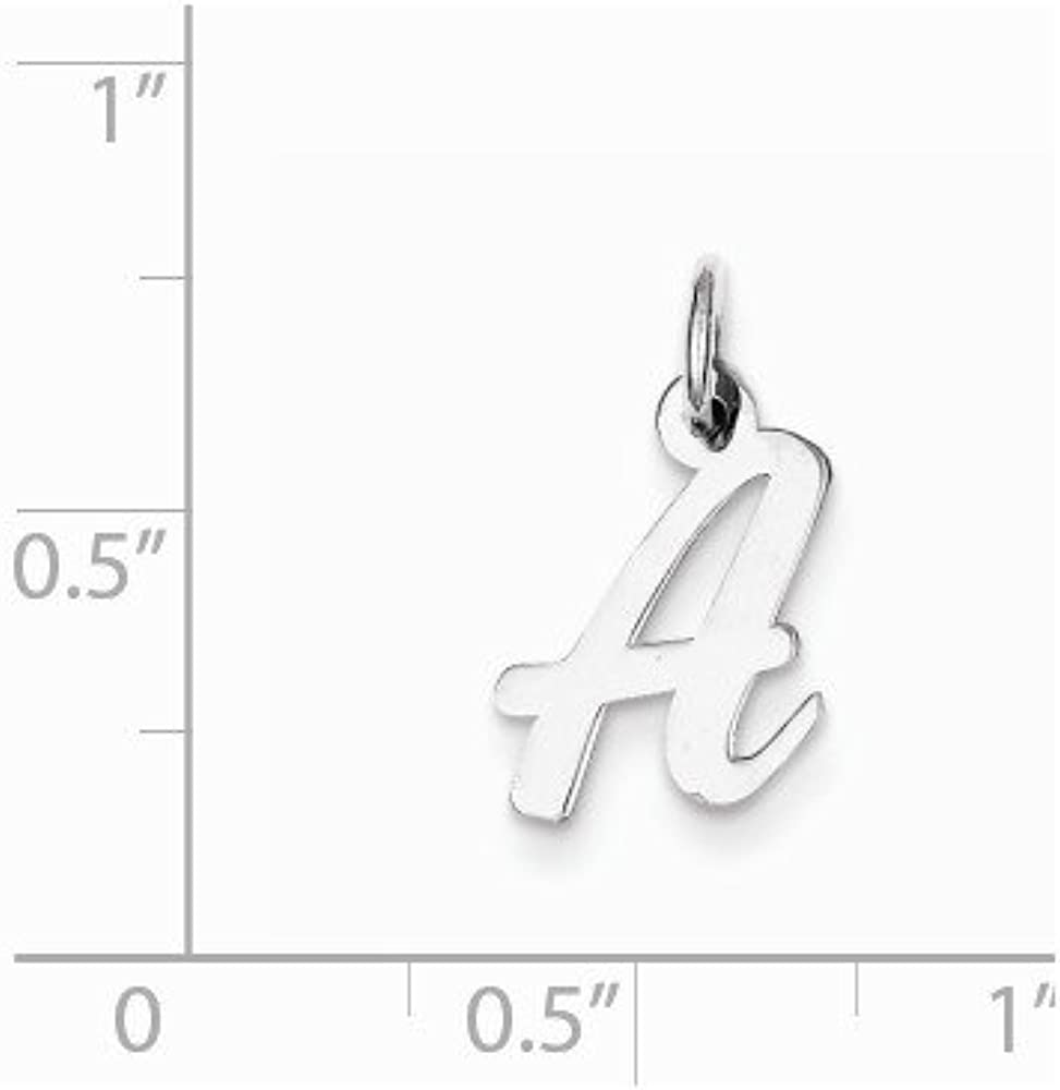 925 Sterling Silver Letter A Pendant Cursive Alphabet Charm Initial Small