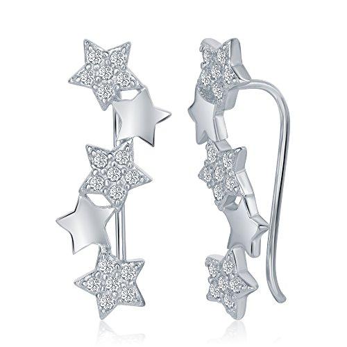 Sterling Silver 925 Cubic Zirconia Womens Ladies Girls Ear Pin Crawler Climber Stars Earrings by OMG Jewelry
