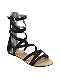 Soda IC75 Women's Criss Cross Strappy Gladiator Tassel Back Zipper Flat Sandal