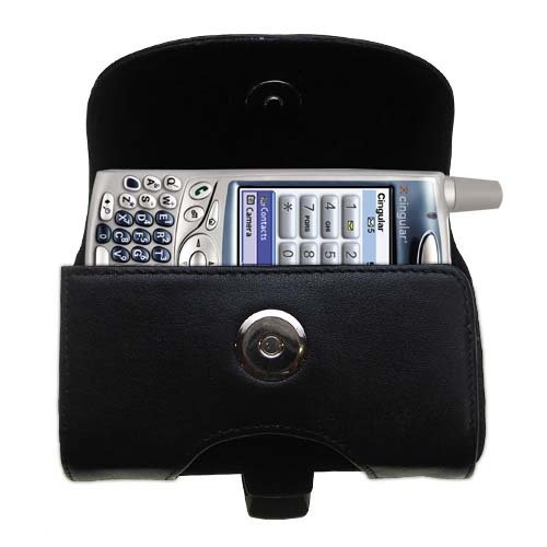 - Gomadic Brand Horizontal Black Leather Carrying Case for the Palm palm Treo 650 with Integrated Belt Loop and Optional Belt Clip