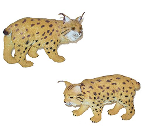 (AAA Lynx Bobcat Set of 2 Realistic Toy Forest Animals)