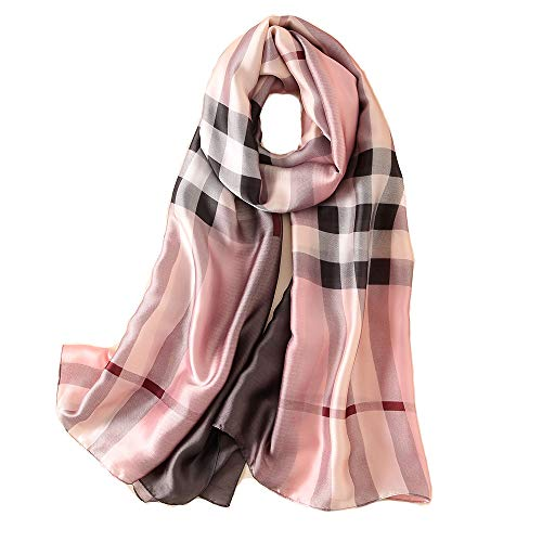 NUWEERIR Womens 100% Mulberry Silk Scarf Long Satin Scarf Fashion Designer Scarf Lightweight Wraps -