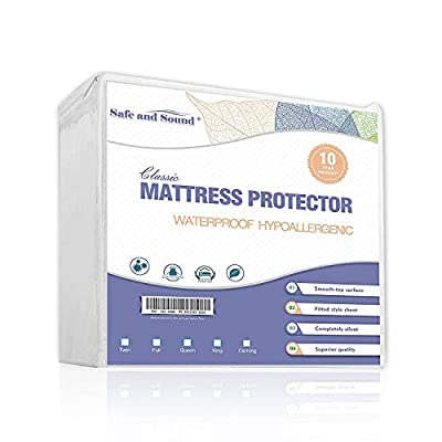 Safe and Sound King Size Mattress Protector Waterproof, High Density Durable Smooth Mattress Cover,Vinyl Free, Hypoallergenic
