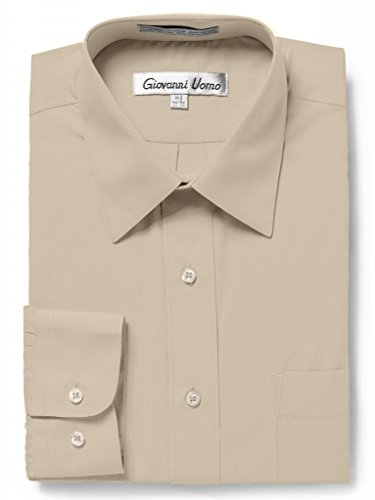 GIOVANNI UOMO Men's Traditional Fit Solid Color Dress Shirt Tan 17.5 ()