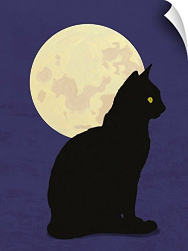 Canvas On Demand Wall Peel Wall Art Print entitled Black cat and moon graphic hand painted illustration by Canvas on Demand