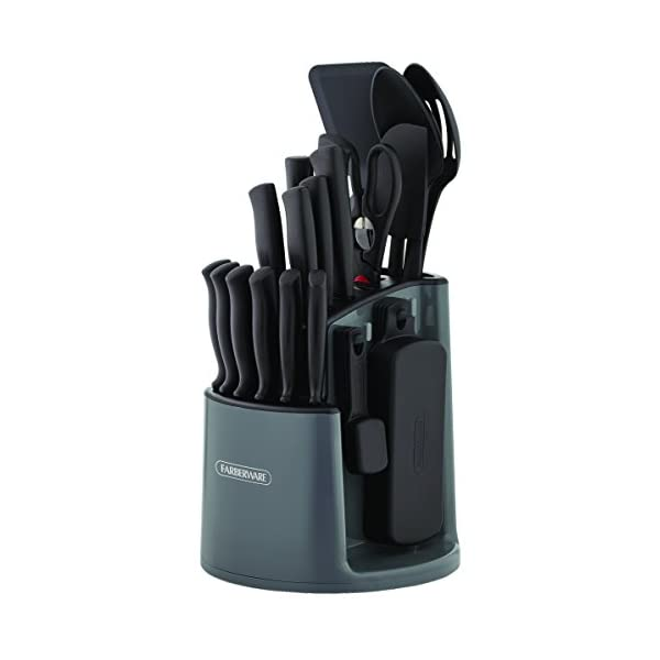 Farberware 30-Piece Spin-and-Store Knife and Kitchen Tool Set with Rotating Storage Caddy, Black 1